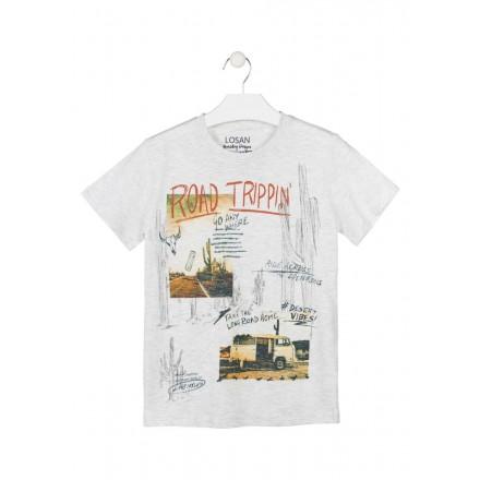 Camiseta de color natural de manga corta para chico Losan 913-1007
