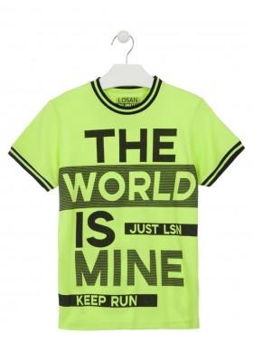 Camiseta manga corta con mensaje en delantero y espalda para chico Losan 913-1014