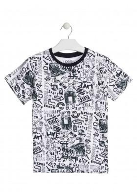 Camiseta de color blanco de manga corta para chico Losan 913-1011