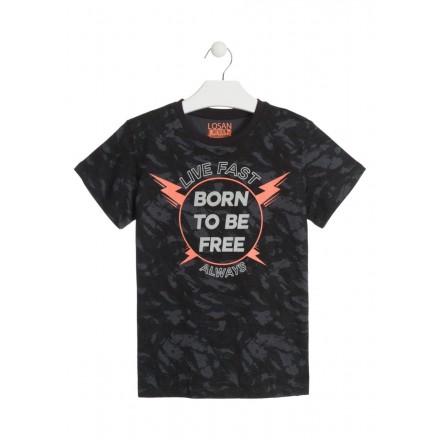 Camiseta de manga corta de color gris con mensaje para chico Losan 913-1024