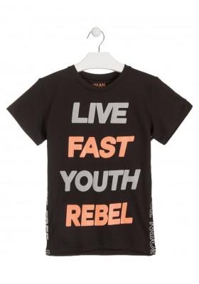 Camiseta de color negro y pieza con texto en los lados para chico Losan 913-1029