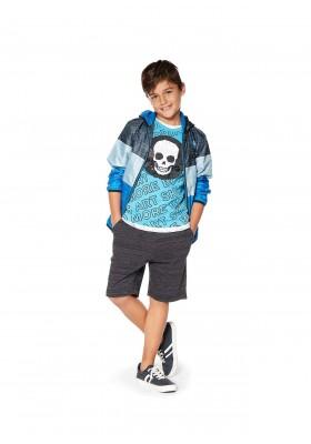Bermuda gateada de color negro en tejido de felpa para chico Losan 913-6013