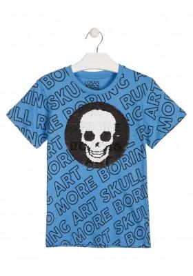 Camiseta de manga corta de color azul con lentejuelas para chico Losan 913-1012