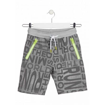 Bermuda de color gris con bolsillos con cremallera para chico Losan 913-6014