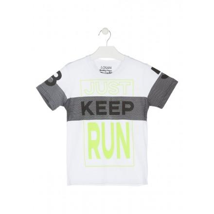 Camiseta con estampado simulando tejido de rejilla para chico Losan 913-1016