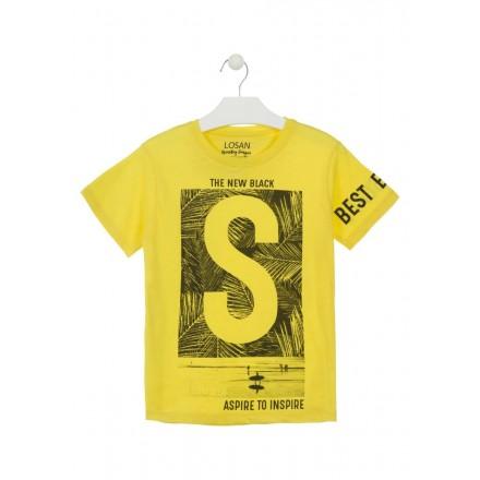Camiseta de manga corta de color amarillo estampada para chico Losan 913-1000
