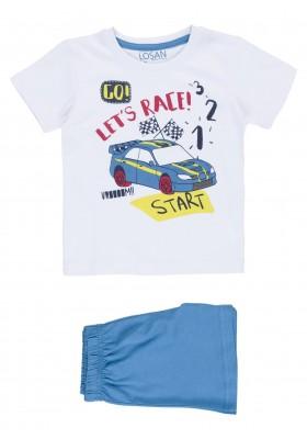 Pijama de camiseta color blanco y bermuda de color azul para niño Losan 915-P001