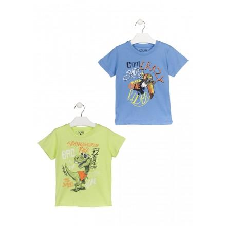 Camiseta con dinosaurio estampado color verde lima para niño Losan 915-1200