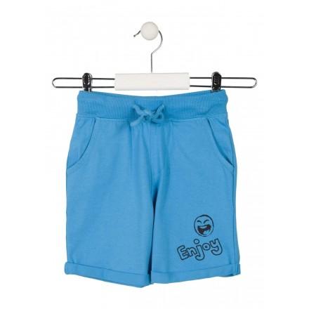Bermuda de punto de color azul con vuelta para niño Losan 915-6602
