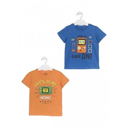 Camiseta con consola estampada color naranja para niño Losan 915-1204