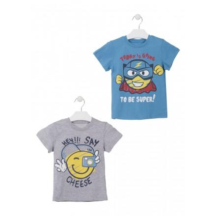 Camiseta de color gris con mensaje para niño Losan 915-1203