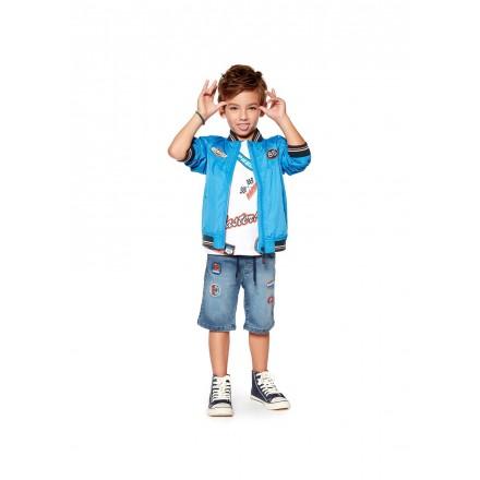 Cazadora de color azul con parches de goma para niño Losan 915-2003