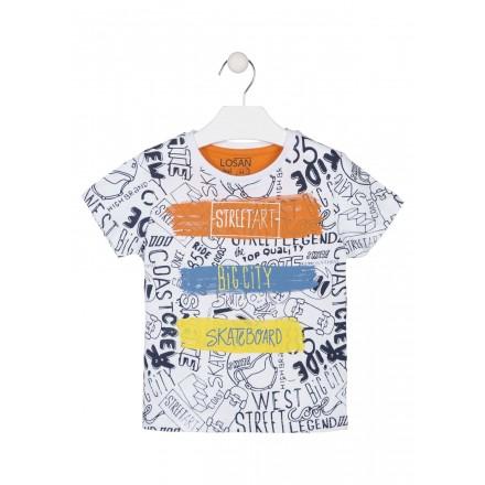 Camiseta de color blanco toda estampada para niño Losan 915-1008