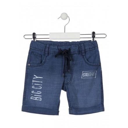 Bermuda de algodón de color azul con vuelta para niño Losan 915-9001