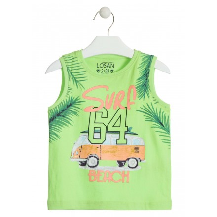 Camiseta sin mangas de color verde para niño Losan 915-1020