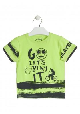 Camiseta de color verde con carita para niño Losan 915-1015