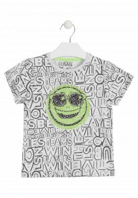 Camiseta de manga corta con lentejuelas reversibles color gris para niño Losan 915-1014