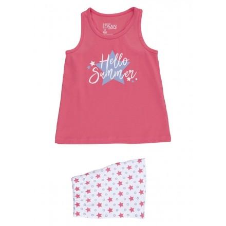 Pijama corto con estrellas estampadas para niña Losan 916-P002