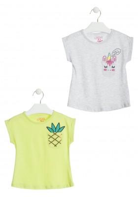 Camiseta con piña en el bolsillo del pecho color amarillo para niña  Losan 916-1201