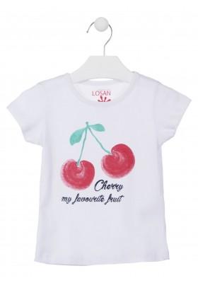 Camiseta con cereza estampada color blanca para niña Losan 916-1301