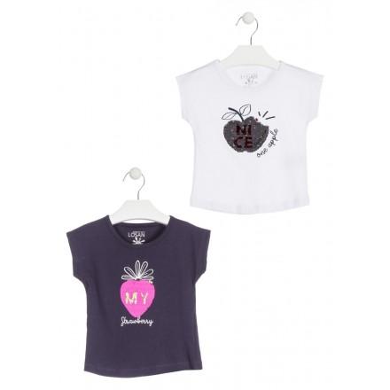 Camiseta con manzana de lentejuelas reversibles color azul para niña Losan 916-1211