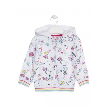 Sudadera con capucha de color blanco para niña Losan 916-6000