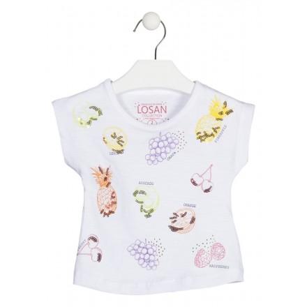 Camiseta con frutas en el delantero para niña. Losan 916-1031