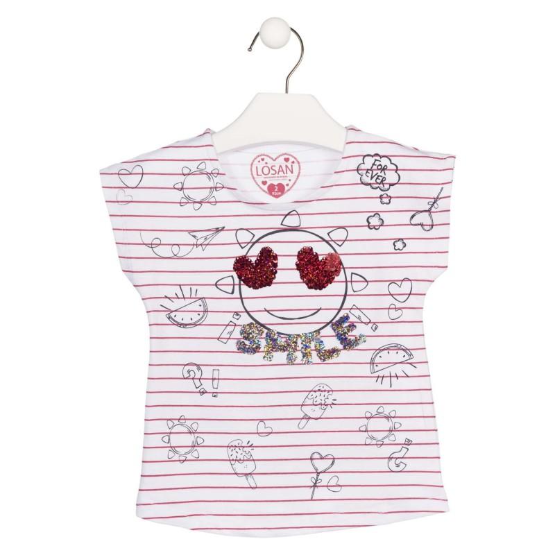cfe870b72 Camiseta de manga corta de rayas con corazones para niña Losan 916-1007