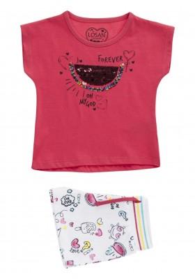 Conjunto de camiseta de manga corta con sandía y short para niña Losan 916-8009