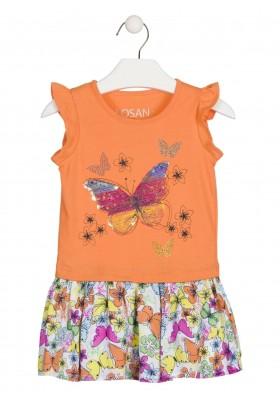 Vestido combinado con mariposa de lentejuelas para niña Losan 916-7020