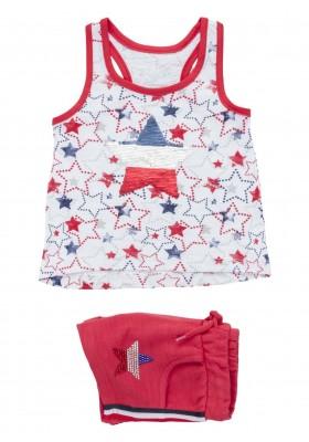 Conjunto de camiseta y short de felpa en color rojo para niña Losan 916-8017