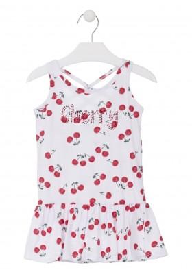 Vestido sin mangas con estampado de cerezas para niña Losan 916-7009