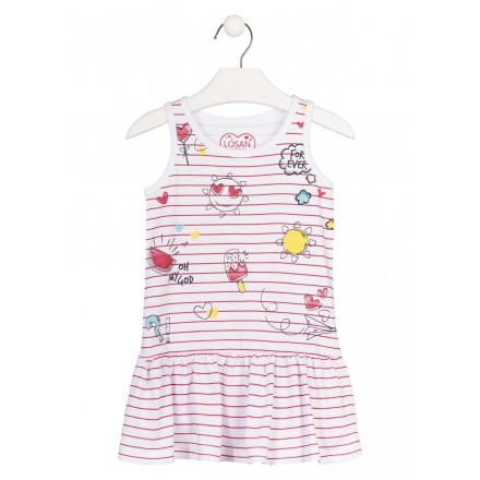 Vestido sin mangas de color blanco con rayas para niña Losan 916-7010
