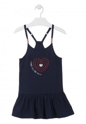 Vestido de punto con bolitas en los tirantes para niña Losan 916-7007
