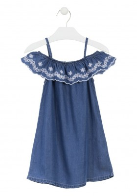 Vestido denim con volante bordado para niña Losan 916-7002
