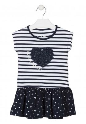 Vestido de punto con corazón de tul en el pecho para niña Losan 916-7005
