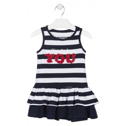 Vestido de rayas con falda de volantes para niña Losan 916-7006