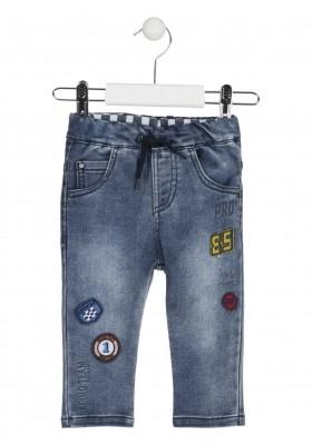 Pantalón de felpa vaquero con parches de fieltro para bebé niño Losan 917-6032