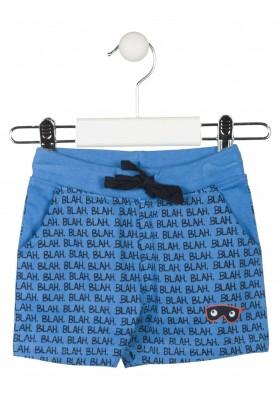 Bermuda de punto de color azul toda estampada con texto para bebé niño Losan 917-6016