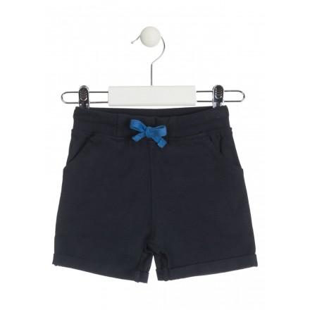 Bermuda de punto de color azul con vuelta en el bajo para bebé niño Losan 917-6015