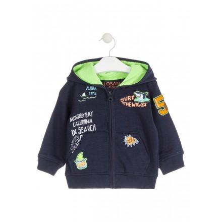 Chaqueta de felpa de color azul con parches bordados para bebé niño Losan 917-6000