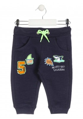 Pantalón de felpa de color azul con parches para bebé niño Losan 917-6023