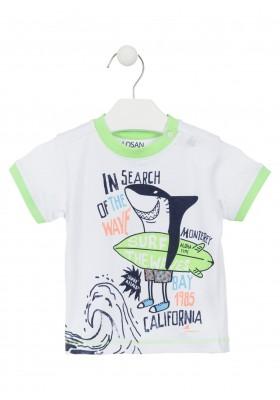 Camiseta de algodón de color blanco con estampado surfero para bebé niño Losan 917-1016
