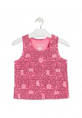 Camiseta nadadora de color rosa para niña Losan 914-1017