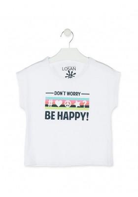 Camiseta de color blanco con mensaje en el delantero para niña Losan 914-1200