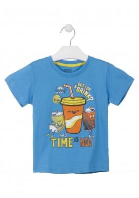 Camiseta de color azul con estampado delantero para niño. Losan 915-1010