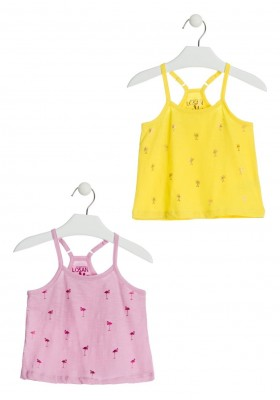Camiseta de color rosa con flamencos para niña Losan 916-1210