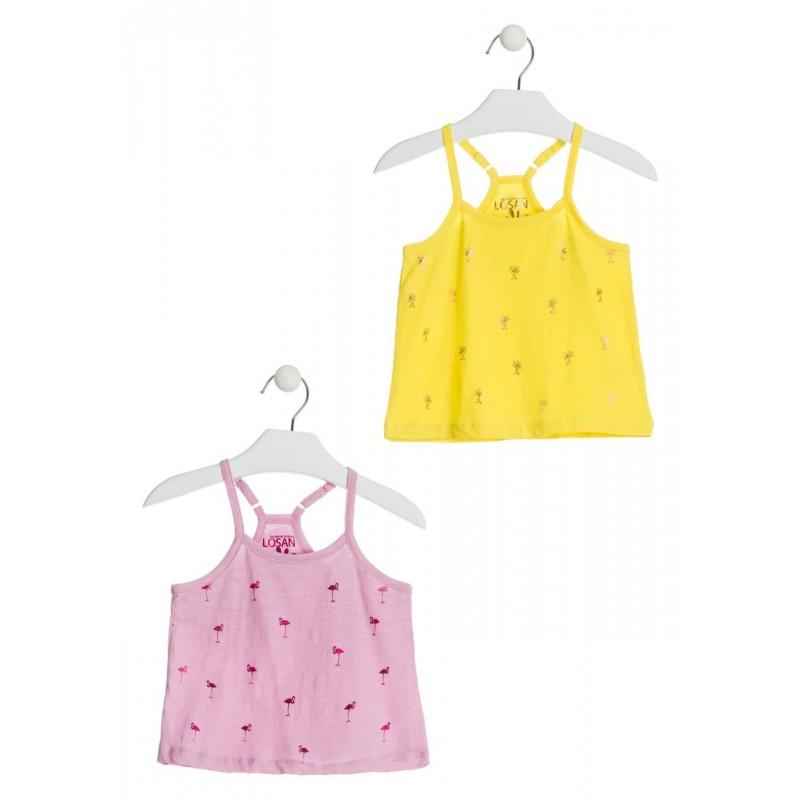 407ebdb7b Comprar Camiseta de color rosa con flamencos para niña Losan 916-1210