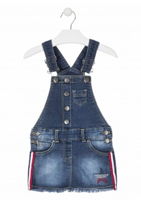 Peto falda tejano de felpa con estrella de brillantitos para niña Losan 916-7003