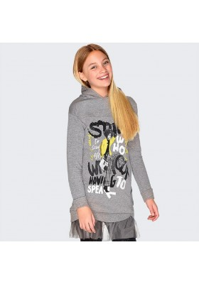 Vestido capucha serigrafia de Mayoral para niña modelo 7942